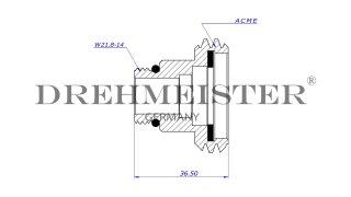 DREHMEISTER ACME adaptador de boquilla de suministro corto de Ø22 mm, latón (W21.8)