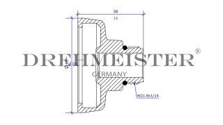 DREHMEISTER adattatore serbatoio DISH Ø22 mm (W21,8), ottone