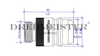 DREHMEISTER Euronozzle Tankadapter Ø22mm (1 ¾ x W 21,8)