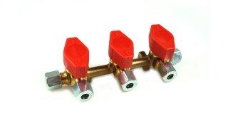 GOK bloque de distribución de 3 vías 10 mm salida 8 mm