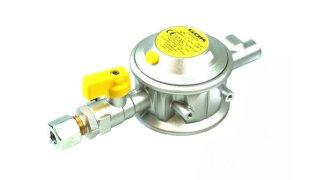 GOK Gasdruckregler 30mbar 1,5kg/h 90° RVS 8mm inkl. Prüfventil