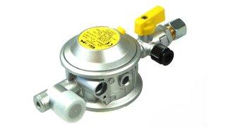 GOK low pressure regulator 30 mbar 1,5 kg/h 90° 10 mm incl. test valve