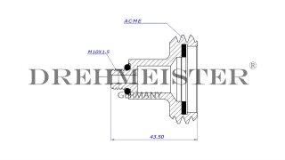 DREHMEISTER adattatore serbatoio ACME 10 mm corto, ottone